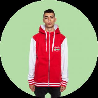 Sudadera Capucha Sport Hood Rojo y Blanca